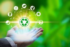Hand som rymmer med miljösymboler över nätverksanslutningen på naturbakgrund royaltyfria foton