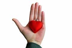 Hand som rymmer röd hjärta arkivbild