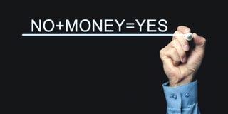 Hand som skriver No+Money=Yes med markören äganderätt för home tangent för affärsidé som guld- ner skyen till arkivbild