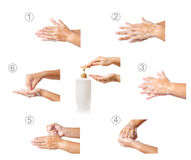 Hand som stegvis tvättar medicinskt tillvägagångssätt royaltyfria foton