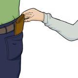 Hand som stjäler plånboken stock illustrationer