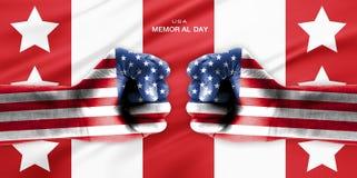 Hand som täckas i flagga av USA royaltyfri illustrationer