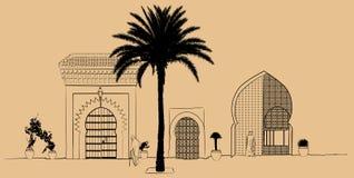 Hand som tecknar typisk gatalandskap i Marocko stock illustrationer