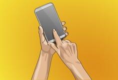 Hand som trycker på på mobil Royaltyfri Foto