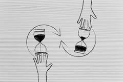 Hand som vänder ett timglas vektor illustrationer