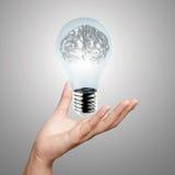 Hand som visar metall 3d den mänskliga hjärnan Arkivfoton