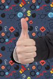 hand som visar upp tumen Royaltyfri Fotografi