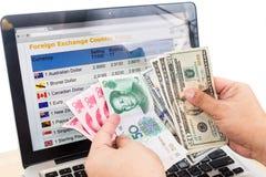 Hand - sortera USD och Yuan framme av diagrammet för valutautbyte på Arkivbild