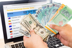 Hand sorting USD and Ringgit in front of currency exchange chart Royalty Free Stock Photos