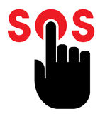 Hand on SOS button. Black vector icon of forefinger on SOS button isolated on white background Royalty Free Stock Images
