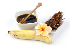 Hand spa, scrub with tamarind, honey and sesame oil, soften with mud wrap. Banana, do it yourself., hand spa, honey, natural therapies, relaxed, scrub with Royalty Free Stock Photography