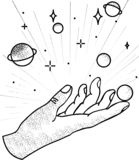 Hand space vector royalty free illustration
