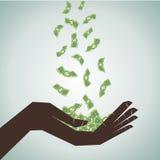 Hand sparen das fallende Geld lizenzfreie abbildung