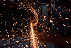 Hand and sparks Stock Photo