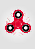 Hand spinner fidget toy. Red hand spinner fidget toy drawing. Toy for stress relief and improvement of attention span Royalty Free Stock Photo