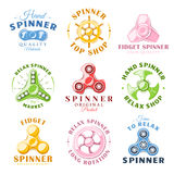 Hand spinner labels and logos. Set of hand spinner labels and logos. Design elements fidget spinners. Vector illustration vector illustration