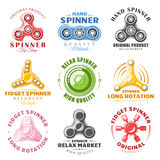 Hand spinner labels and logos Royalty Free Stock Images