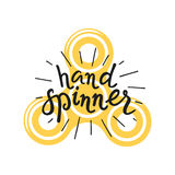 Hand Spinner lettering and icon Stock Photos