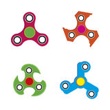 Hand spinner toy flat style, isolated on white background. Hand spinner toy flat style, Hand fidget spinner toy isolated on white background, vector Royalty Free Stock Image