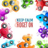 Hand Spinner Toys Frame. Frame with hand spinner toys of various shape on white background with colorful splashes vector illustration Royalty Free Stock Photography