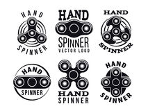 Hand spinner vector logo and labels. Fidget spinners emblems Royalty Free Stock Images