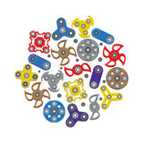 Hand Spinners icons set , fidget spinner toys vector illustration Stock Image