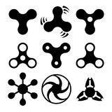 Hand spinners silhouettes, icons Royalty Free Stock Photos