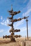 Hand spinning wheel on oil pipeline in Azerbaijan desert Royalty Free Stock Photo