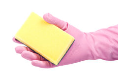 Hand with a sponge. Hand in rubber glove with a sponge Royalty Free Stock Photo