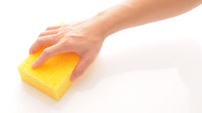 Hand and Sponge Royalty Free Stock Image