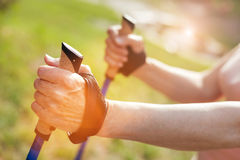 Hand of a sporty active man holding a walking pole Royalty Free Stock Photography