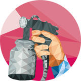 Hand Spray Paint Gun Spraying Low Polygon Stock Photos