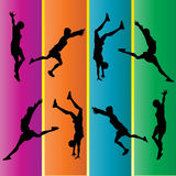Hand Spring Gymnastic Silhouettes Royalty Free Stock Image