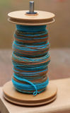 Hand spun yarn on bobbin Royalty Free Stock Photography