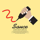 Hand Squeezing A Sauce Bottle stock illustration