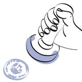 Hand and stamp vector. Illustration of an hand holding a rubber stamp + vector eps file Stock Images