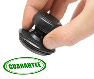 Hand and stamp Guarantee Stock Photography