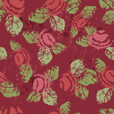 Hand stamped textured shabby roses seamless pattern Royalty Free Stock Photography
