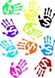 Hand stamps. Color hand stamps with dollar signs on them Stock Photo
