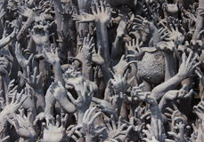 Hand statue. Statue of plaster hands and foot at temple Stock Photos