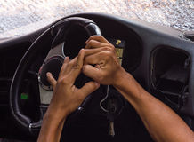 Hand steering arm accident. Royalty Free Stock Image