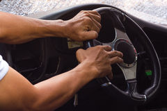 Hand steering arm accident. Stock Images