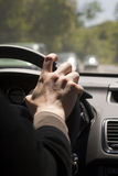 Hand on steering wheel Royalty Free Stock Photography