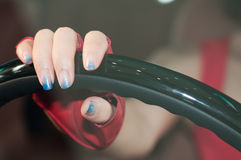 Hand on steering wheel Royalty Free Stock Images