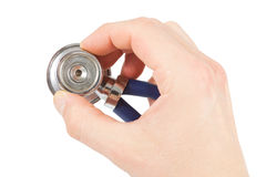 Hand with stethoscope Stock Photography