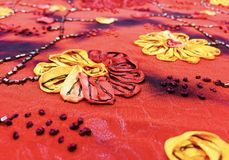 Hand-Stitched Chinese Flower Royalty Free Stock Images