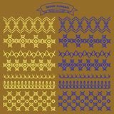 Hand stitched. Collection of vector illustration hand stitched patterns color Royalty Free Stock Photography