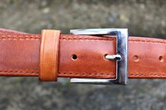 Hand-stitched leather belt Royalty Free Stock Photo