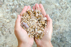 Hand stones pebble beach sea pure water Stock Photos