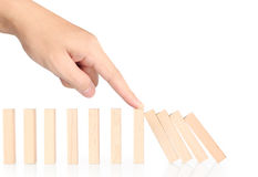 Hand stop  dominoes continuous toppled Stock Photos